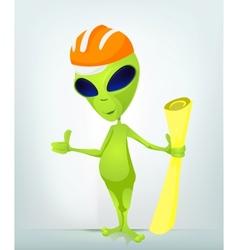 Cartoon Construction worker Alien vector