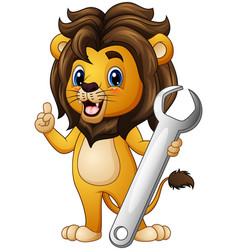 Cartoon lion pointing with holding a wrench vector