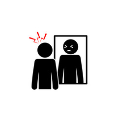 Catoptrophobia fear mirrors icon on white vector