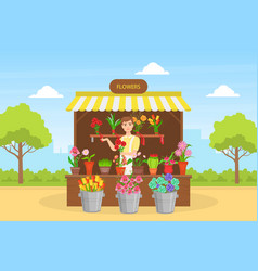 Cheerful young man florist in apron selling vector