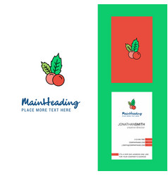 Cherries creative logo and business card vertical vector