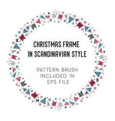 christmas frame and brush with corner tiles vector image