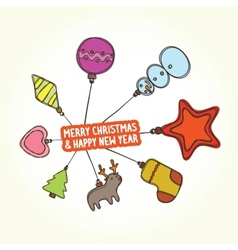 Christmas toys banner vector image