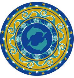 Circular ornament delf and shell colored vector