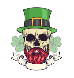 Color handdrawn skull of leprechaun vector