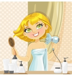 Cute blond girl dries her hair hairdryer in the vector