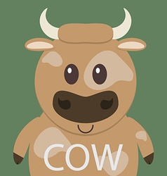 Cute brown cow cartoon flat icon avatar vector image