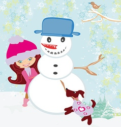 cute girl making snowman vector image