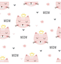 cute princess cats seamless pattern vector image