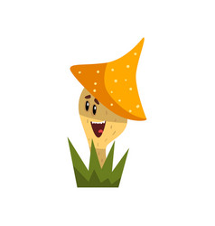 cute smiling mushroom character with funny face vector image