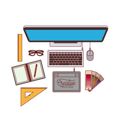Desktop computer top view with elements graphic vector