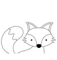 dotted shape adorable fox wild animal of the vector image