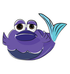 drawing a cute blue color fish with big round vector image