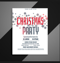 elegant christmas party flyer with snowflakes vector image