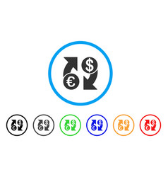 euro dollar exchange arrows rounded icon vector image