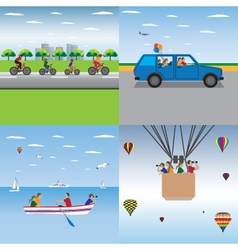 Family sport Family summer vacation Active family vector