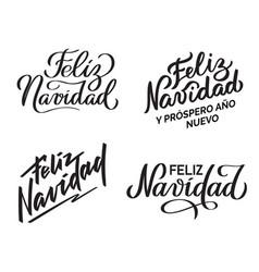 feliz navidad - collection of hand-written texts vector image
