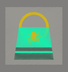 Flat shading style icon halloween bag vector
