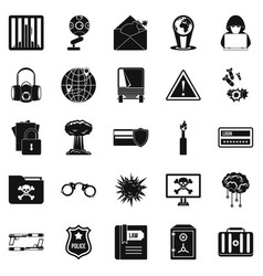 genius icons set simple style vector image