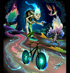 Ghost boy is riding bicycle in park vector