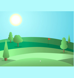Golf course with a hole and a red flag landscape vector