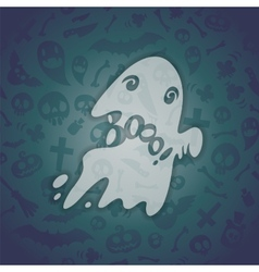 Halloween Card with Spooky Boo vector image
