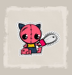 Halloween stitch cat zombie kitty voodoo doll vector