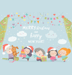 Happy cartoon children with christmas gifts merry vector