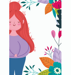 happy mothers day woman cartoon flowers foliage vector image