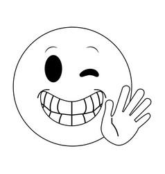 Happy open hand hi bye wink emoji instan vector