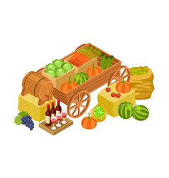 harvest market concept isometric fresh farm vector image