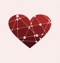 heart icon origami style vector image