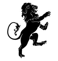 Heraldic rampant lion vector