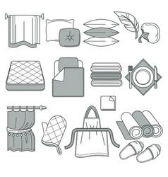 home textile linen and towels pillows and vector image