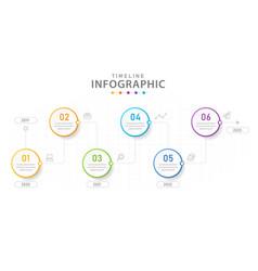 infographic 6 steps modern timeline line diagram vector image