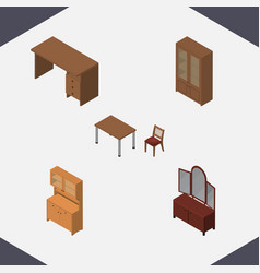 Isometric design set of cupboard drawer chair vector