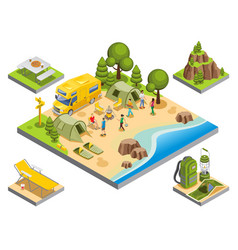 Isometric outdoor recreation concept vector