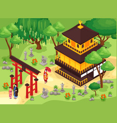japanese monkery travel composition vector image
