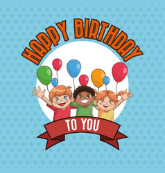 kid happy birthday card cartoon vector image