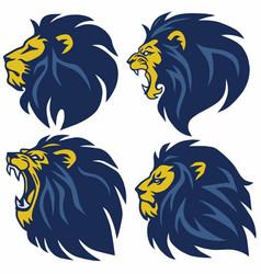 Lion head logo set premium collection vector