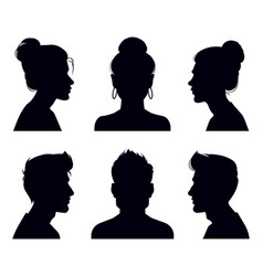 male and female head silhouettes people profile vector image