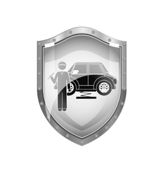 metallic shield of mechanic with spanner and car vector image