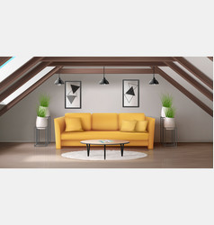 modern interior mansard lounge on attic vector image