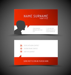 Modern simple red business card template with vector image modern simple red business card template with user vector image fbccfo Choice Image