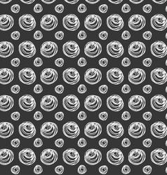 Monochrome scribbles circles on black vector