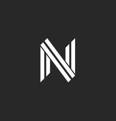 monogram letter n logo design two parallel lines vector image