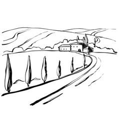 Mountain road graphic art black white landscape vector