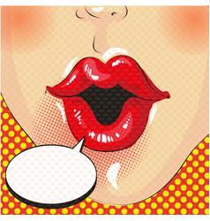mouth speech bubble pop art on dot background vector image