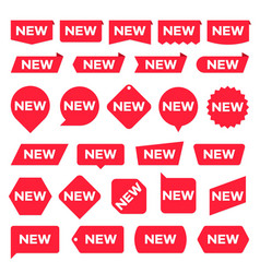 New red labels modern accent new shop promotion vector
