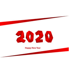 new year red low poly 2020 text design polygonal vector image